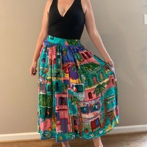 Vintage 80s Button Up Maxi Skirt